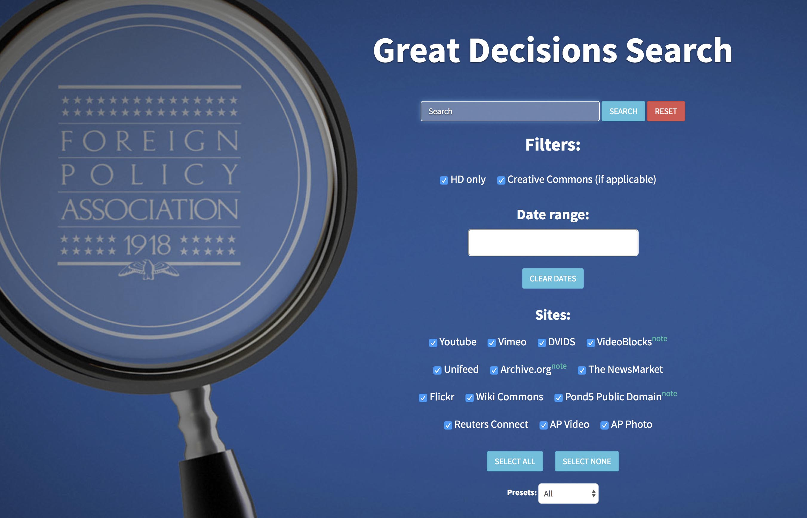 Great Decisions Search interface